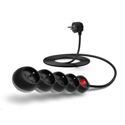 CONNECT IT prodlužovací kabel 230V, 4 zásuvky, 3 m, s vypínačem (černý)