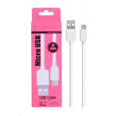 PLUS datový a nabíjecí kabel AS115, konektor micro USB, bílá