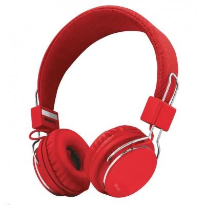 TRUST Skládací sluchátka Ziva Foldable Headphones for smartphone and tablet - červená