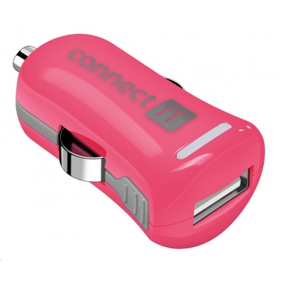 CONNECT IT InCarz COLORZ nabíječka do auta 1xUSB 2,1A, růžová (V2)