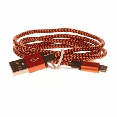 CELLFISH pletený datový kabel z nylonového vlákna, micro USB, 1 m, oranžová