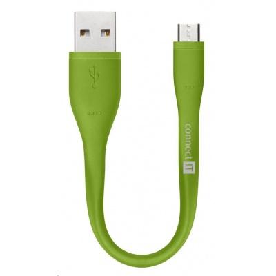 CONNECT IT Wirez Micro USB - USB pro power banky, zelený, 13 cm