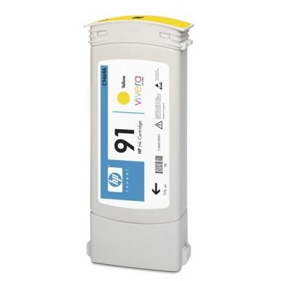 HP 91 Yellow DJ Ink Cart, 775 ml, C9469A