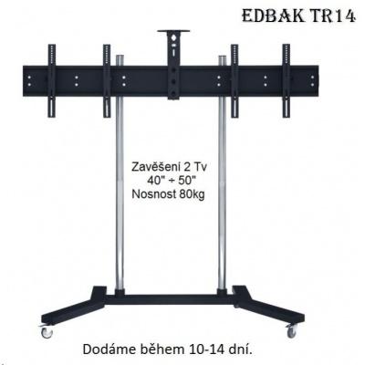 """Profesionální stojan na 2 Tv 40-50"""" vedle sebe, vhodný na prezentace, výstavy, konference, EDBAK TR14 - držák"""