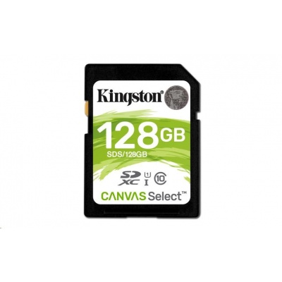 Kingston 128GB SecureDigital Canvas Select (SDXC) Card, 80R Class 10 UHS-I
