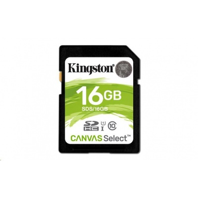 Kingston 16GB SecureDigital Canvas Select (SDHC) Card, 80R Class 10 UHS-I