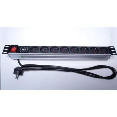 """PremiumCord Panel napájecí 1U do 19"""" racku, 8x230V, přepěťová ochrana, 2m kabel, vypínač"""